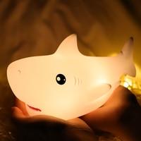 Shark-luz LED nocturna con Sensor táctil para niños y niñas, lámpara recargable por USB de 7 colores para dormitorio, mesita de noche, habitación, regalo