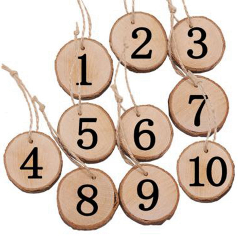 1-10 Numbers Wooden Hanging Table Cards Place Holder Table Number Figure Card Digital Seat Decoration Wedding Party Supplies