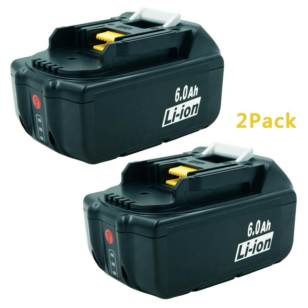 2 pack BL1860 18V 6000mAh Rechargeable Li-ion Batterie pour Outils Électriques Makita 194309-1 BL1815 BL1830 BL1840 LXT400 lumière LED
