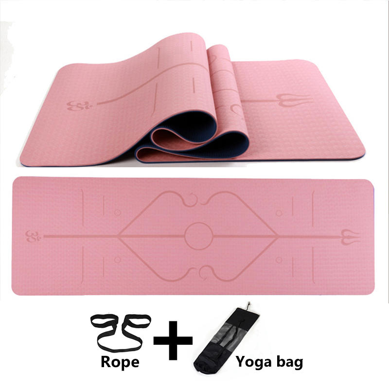 Yoga Mat 1830*610*6mm TPE Yoga Mats Position Line Non Slip Mat Yoga Beginner Environmental Fitness Gymnastics Mats Exercise Mat