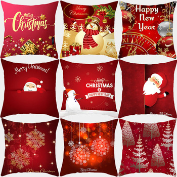 Christmas Pillow Covers Cushion Cover 45*45 Merry Christmas Sofa Decorative Throw Pillow Polyester Home Decoration Pillowcase pillow cover christmas snow man home decoration