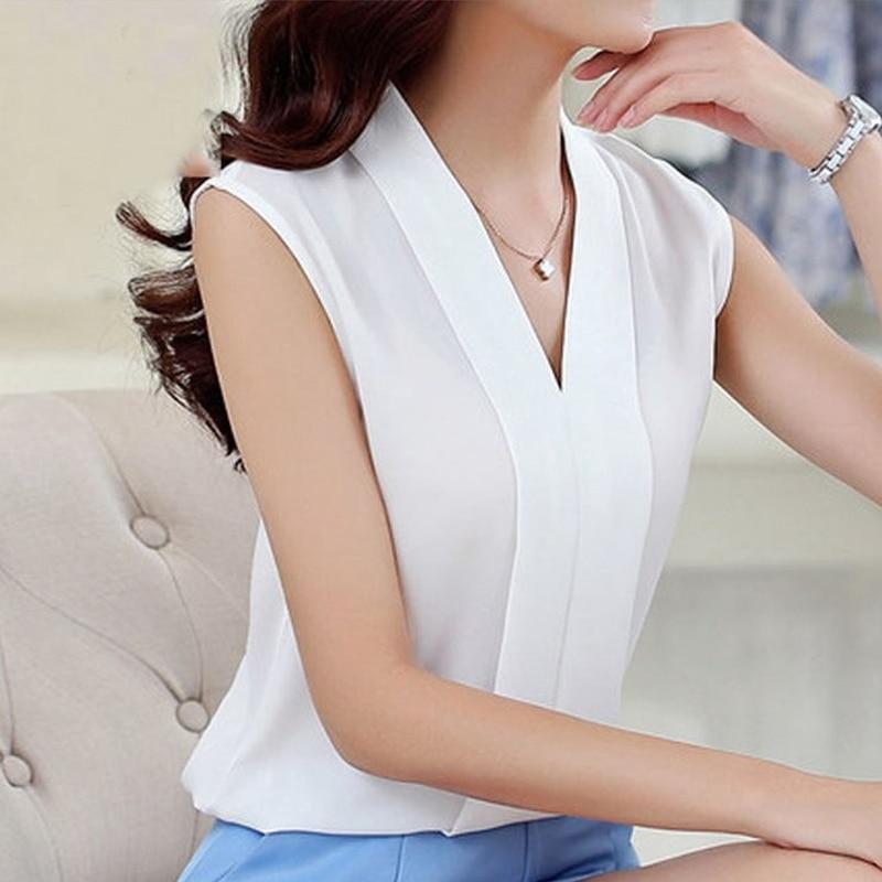 Women Tops Short Sleeve V-Neck Print Shirt Pink Chiffon Short Top Lace White Chiffon Blouse New Fashion Sleeveless Chiffon Shirt