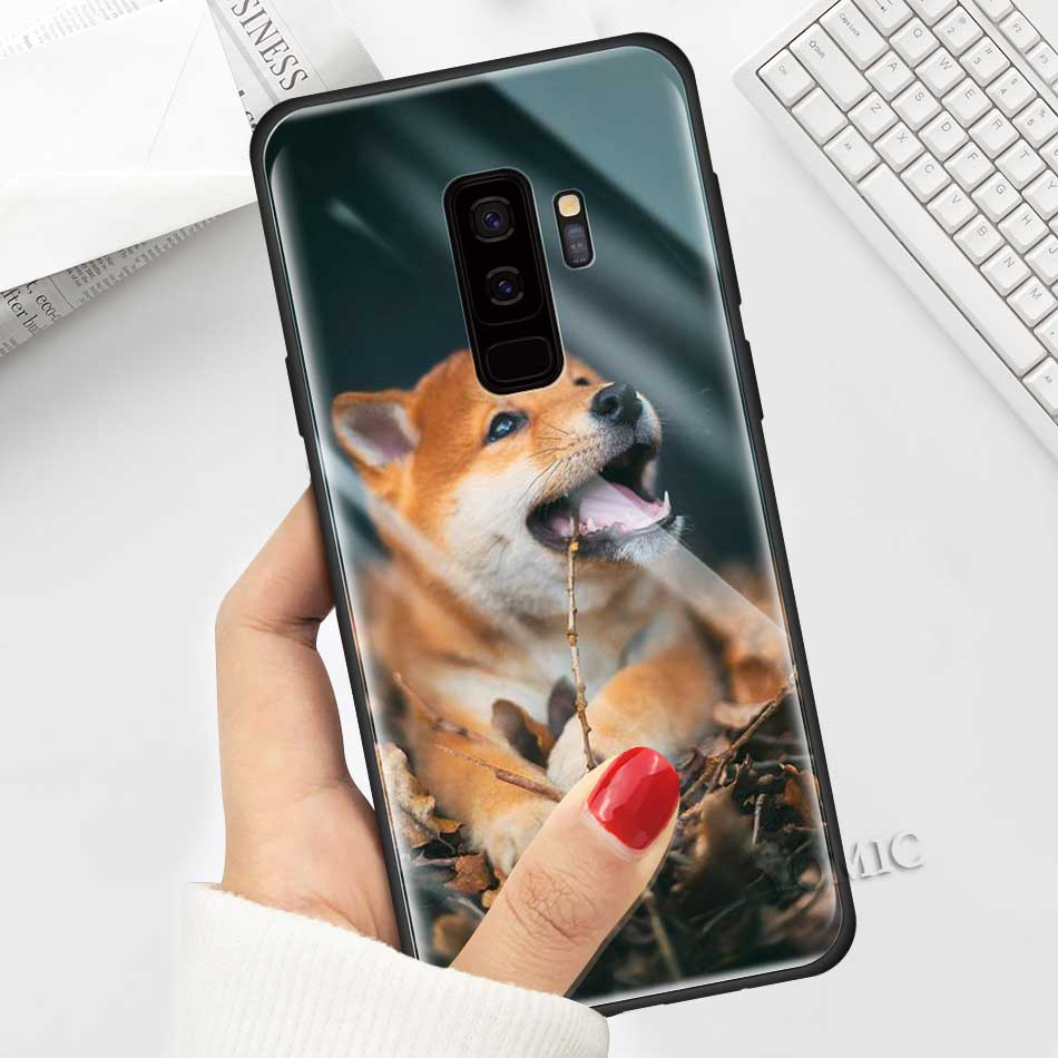 For Samsung Galaxy S21 S20 FE S10 Tempered Glass Phone Case Note 10 Lite 20 Ultra S9 Plus S8 S10e Cover Shiba Inu Cute Smile Dog