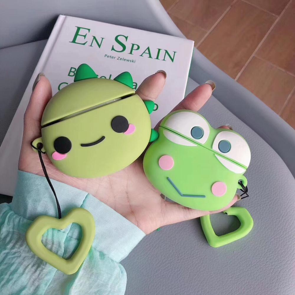 cute 3D cartoon Dinosaur frog funny Silicone soft case For Apple new Airpods 1/2 Cover Wireless Bluetooth Earphone headset case