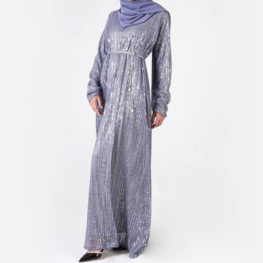 Paillettes de luxe Robe Musulmane femmes à manches longues arabe dubaï Abaya caftan Robe Robe Musulmane Longue turque vêtements islamiques