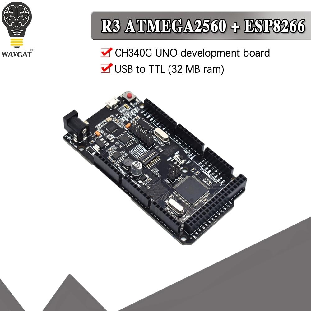 Плата Mega2560 + WiFi R3 ATmega2560 + ESP8266, плата разработки CH340G, совместима с Arduino Mega NodeMCU WeMos, 32 Мб памяти