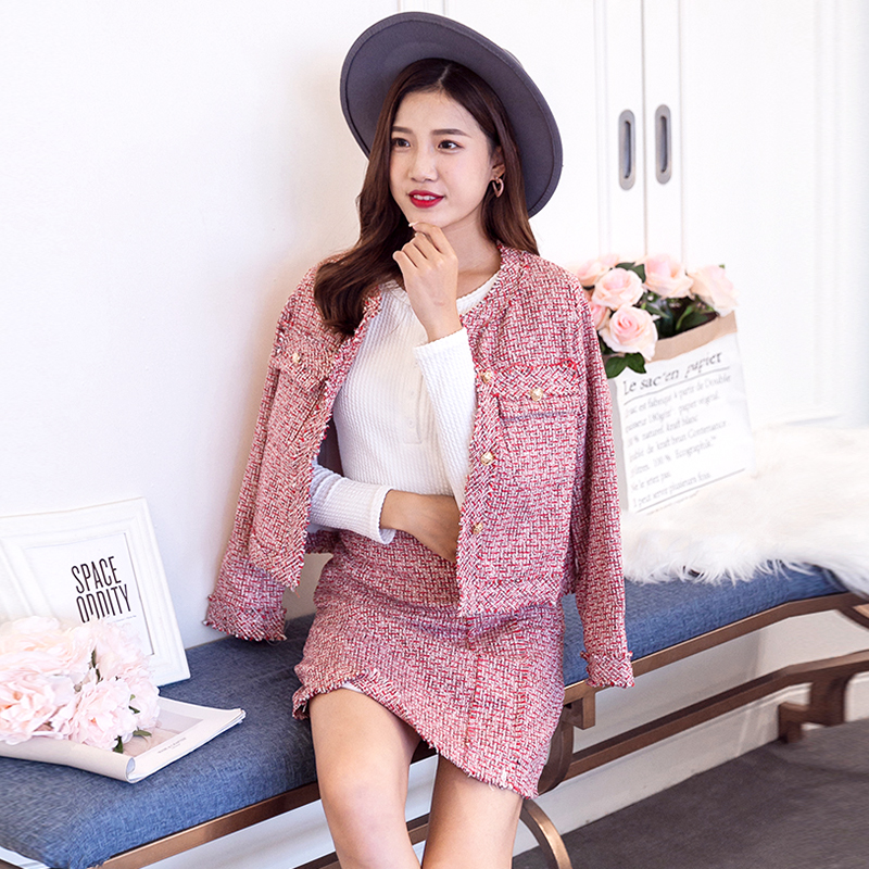 High Quality Women 2 Piece Set Autumn Winter Red Tweed Tassel Single Breasted Jacket Coat + Fringe A Line Skirt Suits