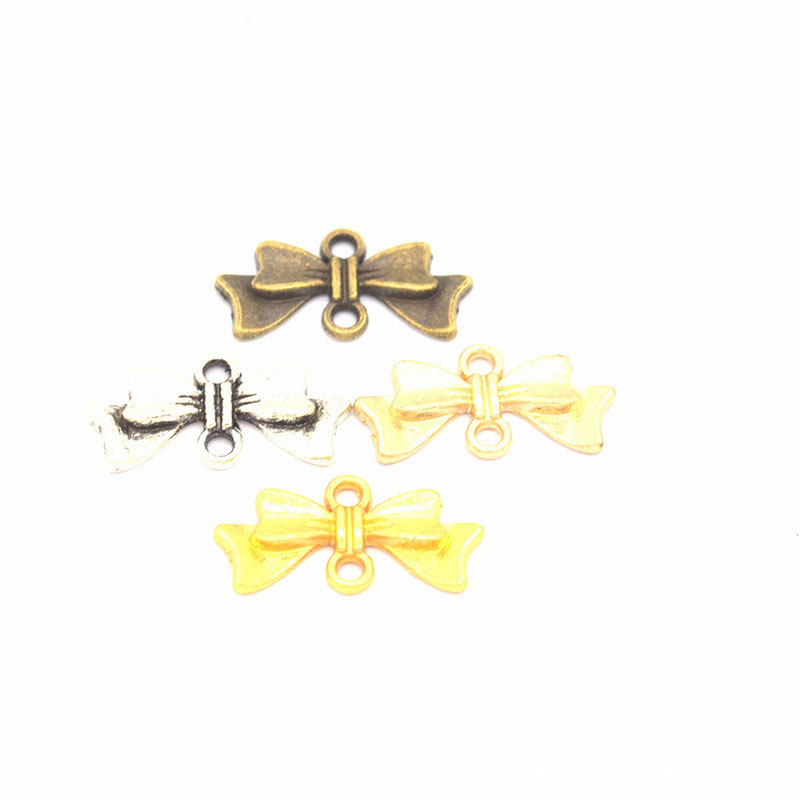 Retro Bow Gold Plated Findings Sweet Alloy Gold Pendants <font><b>Jewelry</b></font> Making Wholesale <font><b>Lots</b></font> Bulk Children Diy <font><b>Fun</b></font> Creative <font><b>Jewelry</b></font> image