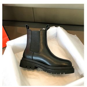 Image 3 - Chelsea Boots 2020 Female Leather Women Boots Thick Heels Ankle Boots For Women Round Toe Winter Shoes Women Flat Platform Boots