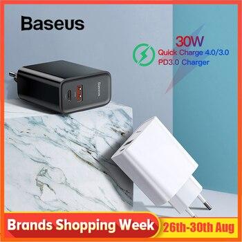 Baseus carga rápida 4,0 USB 3,0 cargador de 5A para Huawei 30W QC 4,0 3,0 cargador rápido de 3,0 rápido cargador para iPhone