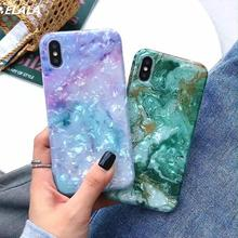 ELALA Glossy Marble Case For iPhone X XR Glitter Patterned Conch Silicon Cover 6 s 7 8 Plus XS Max 11 ProCase