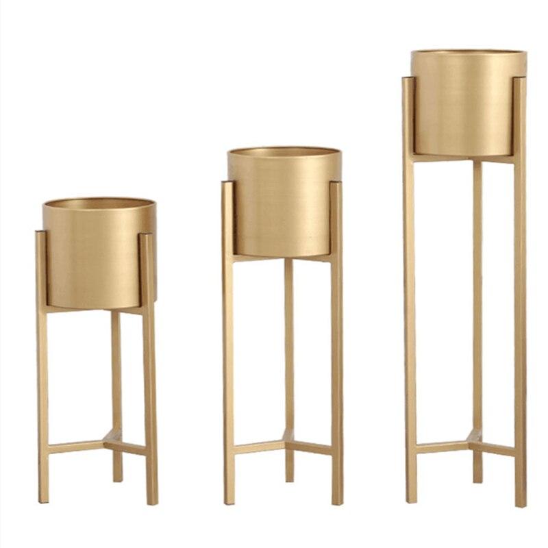 Nordic Tieyi Flower Shelf Golden Light Luxury Wind Living Room Flower Shop Ground-type Simple Green Turtle Metal Shelf