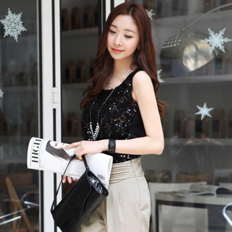 בתוספת גודל 5XL קוריאני סגנון למעלה סקסי ללא שרוולים חולצה נצנצים אפוד נשים O צוואר חולצות חולצה מוצק צבע זהב blusas