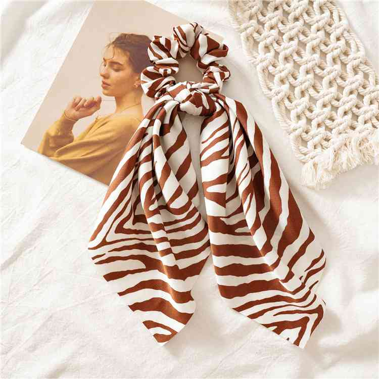H0755e019859c4ae9a8036c9d3ecb4d59B - Vintage scarf, bowknot Women Hair Ponytail Holder, Rubber Serpentine Summer headbands Elastic Hair ties for Girls