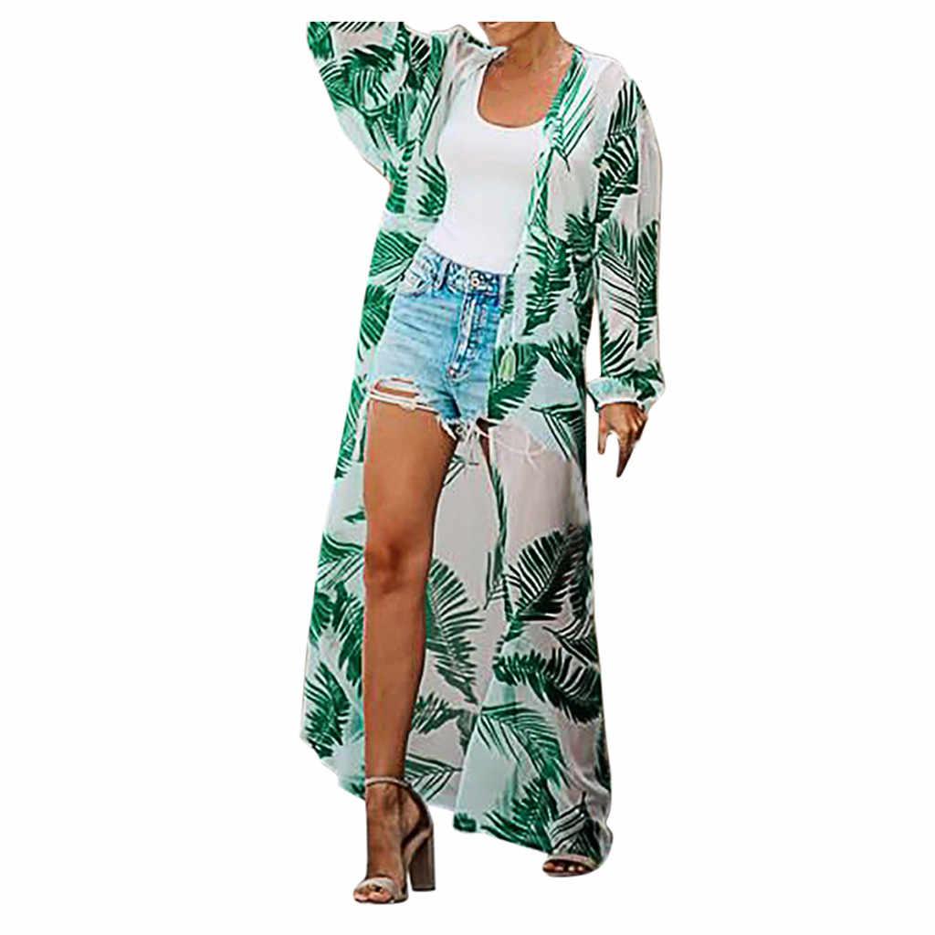 Clode/® Women Boho Printed Chiffon Shawl Long Kimono Cardigan Tops Cover up Blouse