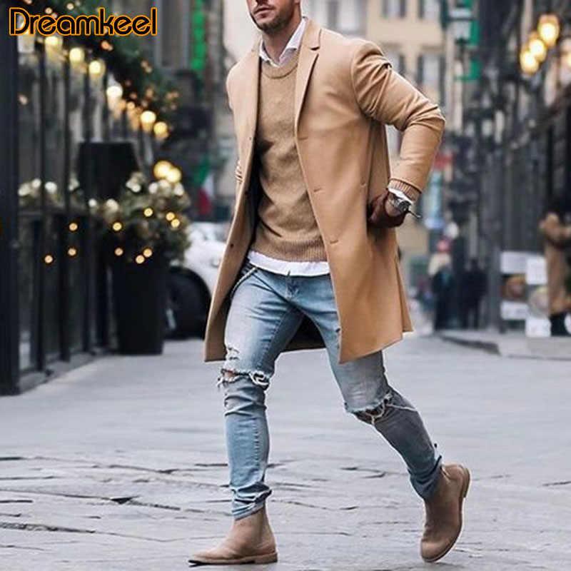 Erkek Parka sonbahar kış ceket polar ceket karışımı erkek palto Casual katı ince yaka palto uzun ceket pamuk trençkot R