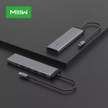 MIIIW-concentrador de red tipo C Original, Adaptador 7 en 1 con USB C, 4K, 100W, 3x USB 3,0, lector de tarjetas SD para MacBook Air