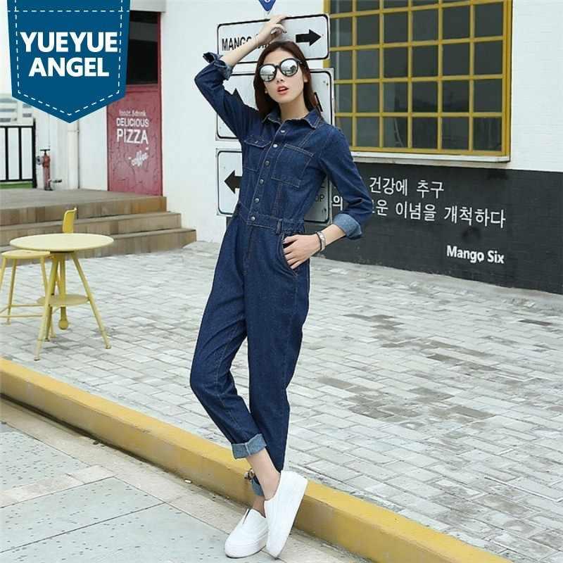 Mode Damen Vintage Navy Blau Jean Overalls Einreiher Volle Hülse Denim Insgesamt Overalls Für Frauen Büro Dame Taschen