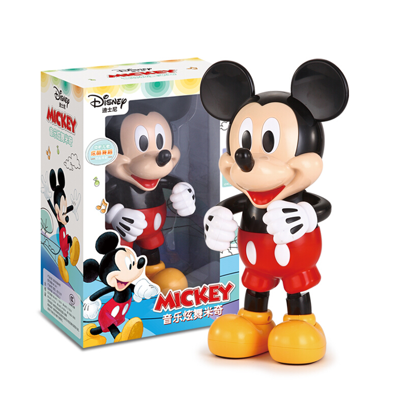 Original Disney Dancing Mickey Mouse Action Figure Dazzling Music Shiny Educational Electronic Walking Robot Toys For Children