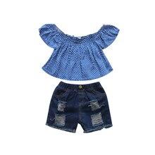 1-6T Little Girls Clothes Polka Dots Blue Off-shoulder Crop Top Short Sleeve Shirt Denim Jeans Summer Outfit Kids