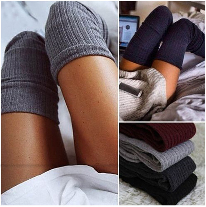 Women Over Knee High Socks Spring Autumn Winter Warm Knit Soft Thigh High Long Socks Solid Color Loose Socks