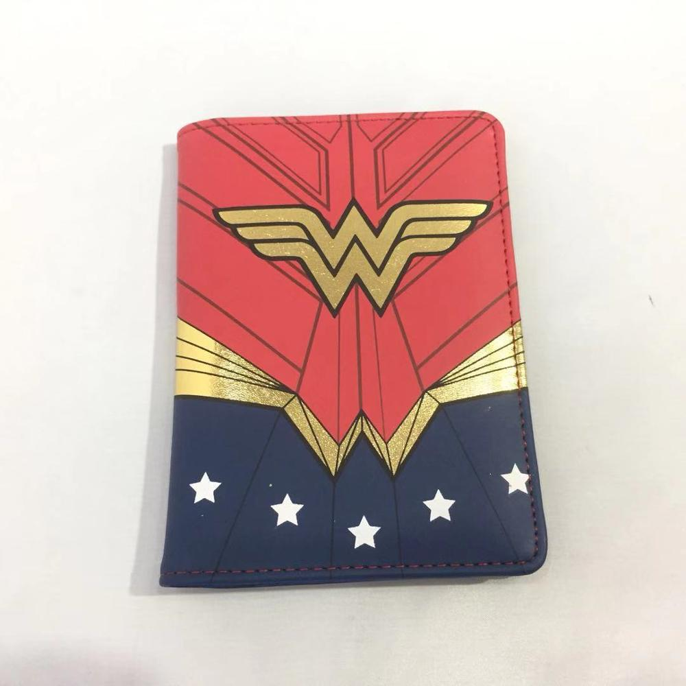 Travelling Accessories Wonder Woman Passport Cover Hero Batman Flash Superman Leather Card ID Slot Travel Passport Holder