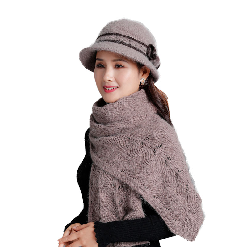 New Winter Warm Hat Knitted Hat Scarf For Set Women Rabbit Fur Wool Mixed Hood Female Casual Solid Mother Shawl Gifts Bucket Hat
