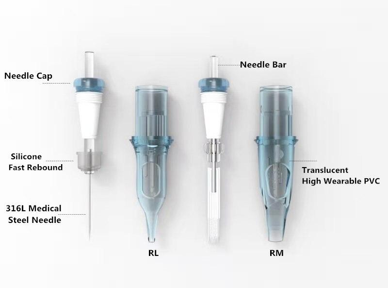 Fabryka akceptuje OEM! Nabój do tatuażu igły RL RS RM M1 jednorazowe sterylizowane igły bezpieczeństwa do maszyn kasetowych