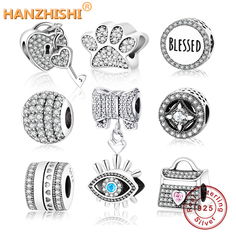 Fits Original Pandora Charm Bracelet 925 Sterling Silver BLESSED Paw Lock Charms Beads With Clear CZ DIY berloque Jewelry Gift(China)