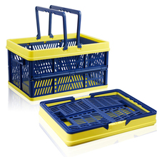 Multipurpose Foldable Storage Basket Shopping Basket Large Plastic Picnic Bin Convenience Store Storage Organizer Laundry Basket