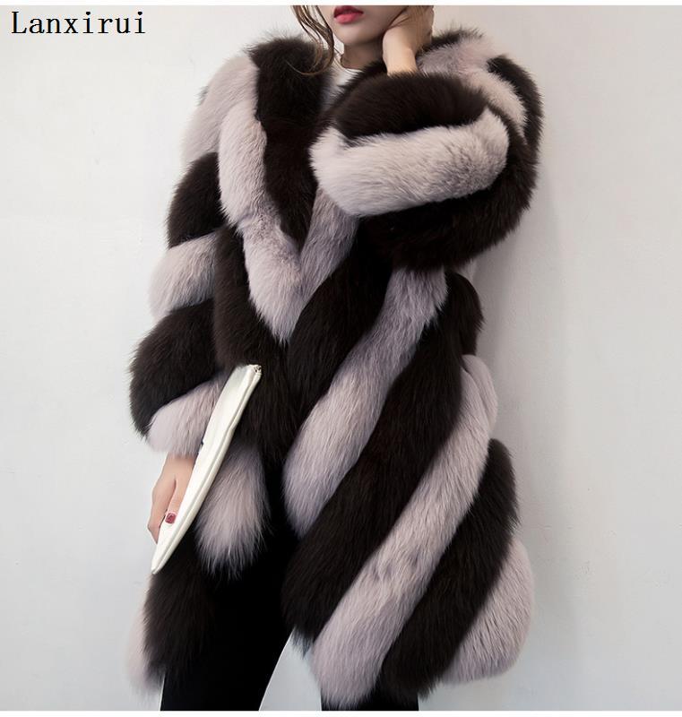 Lanxirui Long Winter Faux Fur Coat With Hood Long Sleeve Zipper Black Furry Fake Rabbit Fur Outwear Plus Size Shealing Jacket