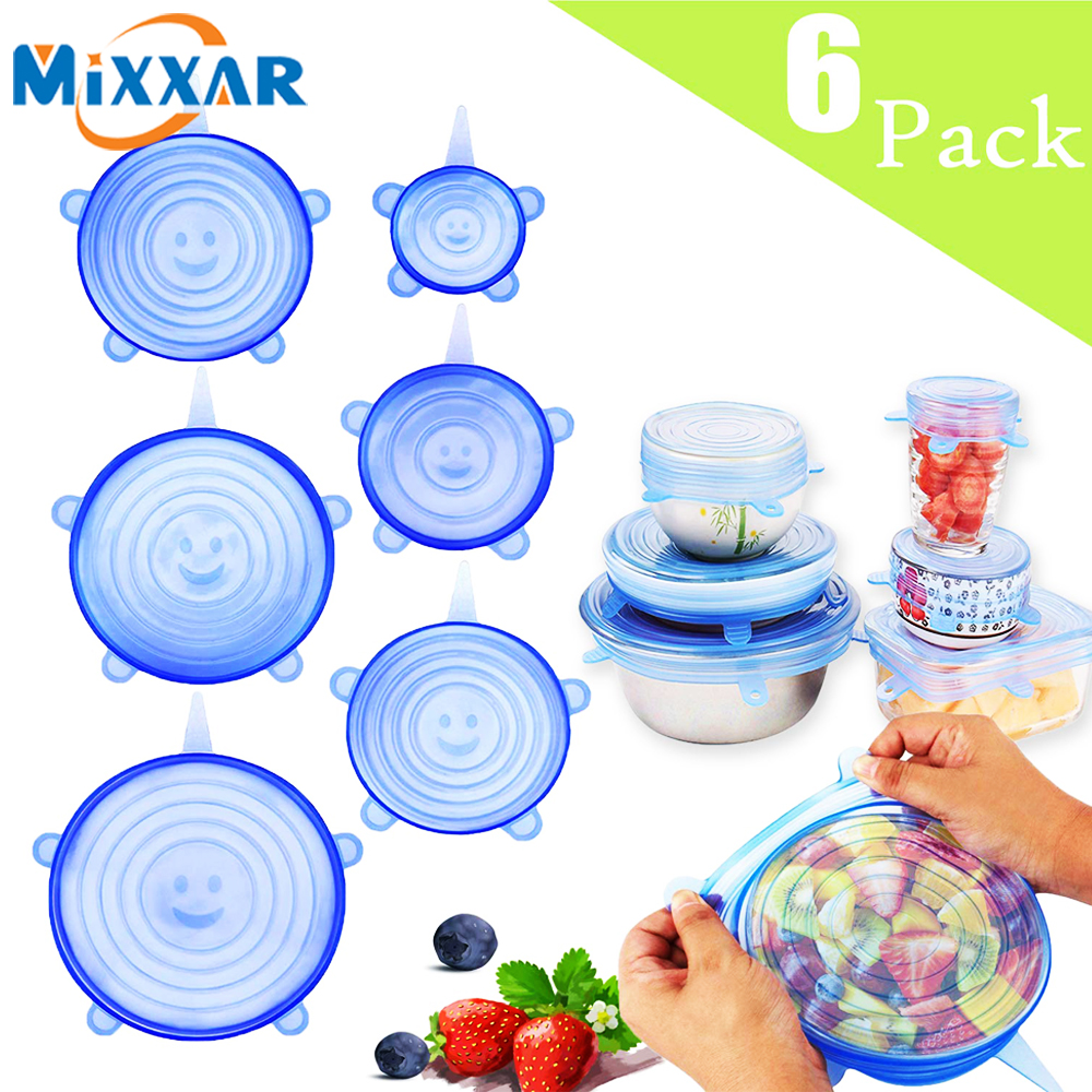 Dropshipping 6Pcs Silicone Stretch Lids Reusable Seal Lids Food Covers Durable Reusable Food For Bowls Mugs Dishes Box Kitchen