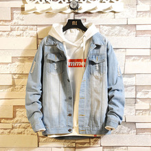 Idopy Men Blue Denim Jackets Coats New Spring Autumn Outwear Casual Jean Jackets Cotton MAGGIE #8217 S WALKER Solid Black Denim Coats cheap MAGGIE S WALKER Single Breasted REGULAR STANDARD NONE Polyester Loose Frayed Turn-down Collar Conventional Printing Ming Ji line digging bag