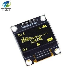 Image 2 - 10 pièces couleur bleu blanc 0.96 pouces 128X64 Module daffichage OLED jaune bleu Module daffichage OLED pour arduino 0.96 IIC SPI communiquer
