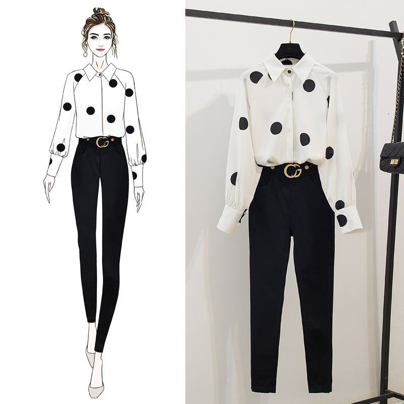 2019 Autumn Women Long Sleeves Dot Shirts + Slim Pants  2 Pcs Sets Female Fashion Suits A1834