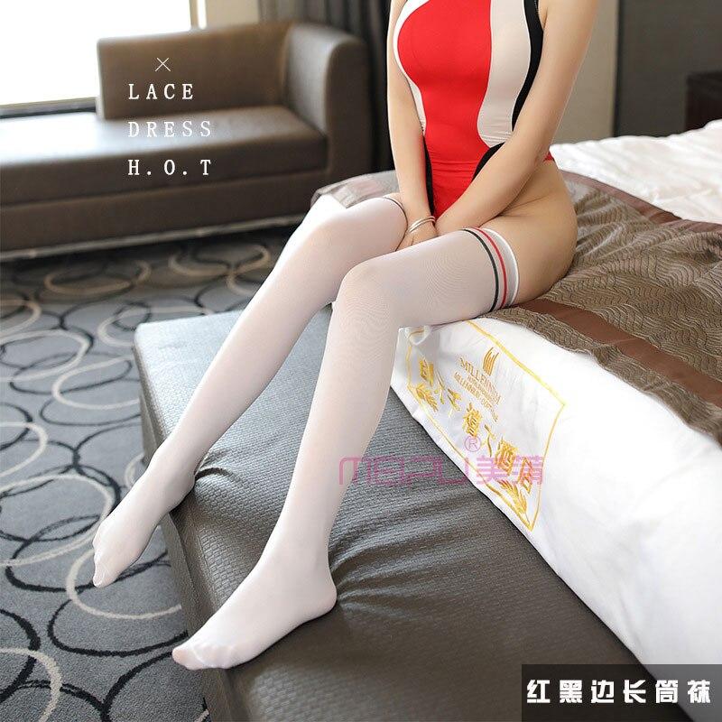 Sexy Women Cute Striped Flare Gloss Silk Stockings Thin Lustre Oil Shinny High Stockings Ribbon Long Tube Stockings Kneesocks F8