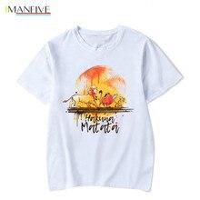 купить camisetas hombre Hakuna Matata t shirt men/women cotton tops couple clothes vogue style lion king cartoon print tee shirt homme дешево