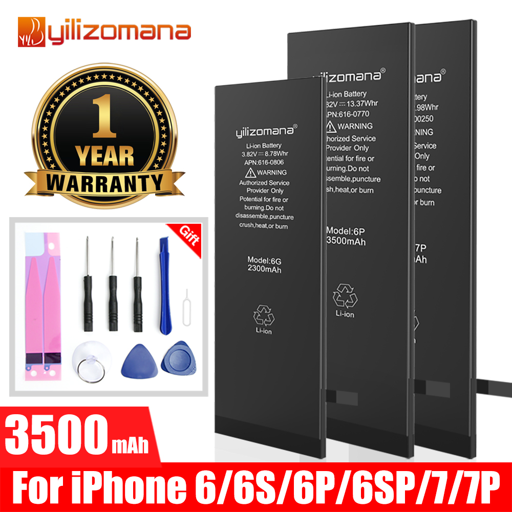 YILIZOMANA Quality Battery For IPhone 6 6S Plus 6Plus 6SPlus Batteries Real High Capacity For IPhone 7 7Plus Zero Cycle Bateria