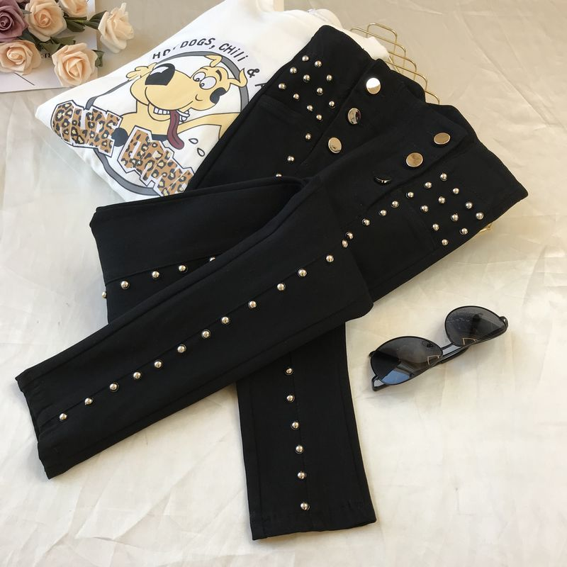 Beaded High-Waist Jeans Women's 2020 Spring New Fur Trim Stretch Skinny Pants Girls Ladies All-match Black Pants Trousers