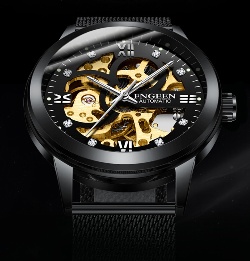 FNGEEN Top Brand Luxury Sport Mechanical Watch Luxury Golden Watch Mens Watches  Montre Homme Clock Men Automatic Skeleton Watch