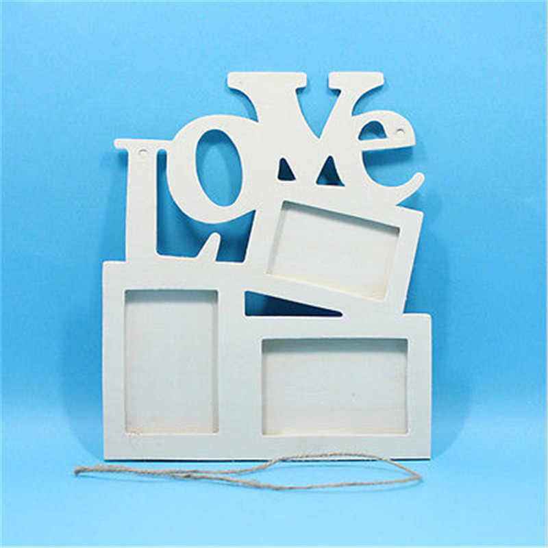 DIY Picture Frame Rectangle Wooden Photo Frame With FAMILY Letter Love English Letter Hanging  Art Craft Home Decor