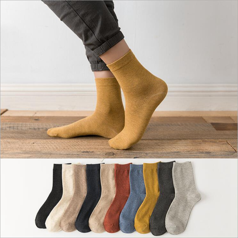 1 Pair Autumn And Winter New Socks Solid Color Couple Models Fashion Trend Tube Socks Cotton Casual Socks Men Socks