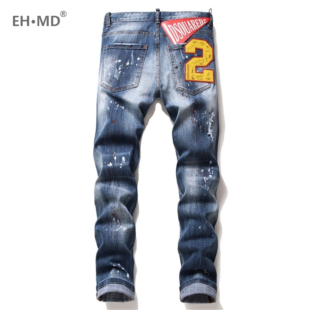 EH · MD® Stereo 3D Number 2 Jeans Men's Embroidery Spray Paint Dot Holes Scratch Trousers Painted Letters Slim Cotton Red Ears