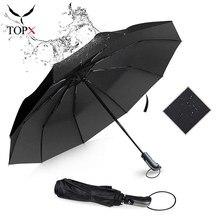 Umbrella Parasol Black Business Wind-Resistant Travel Rain 3folding Large Automatic Women