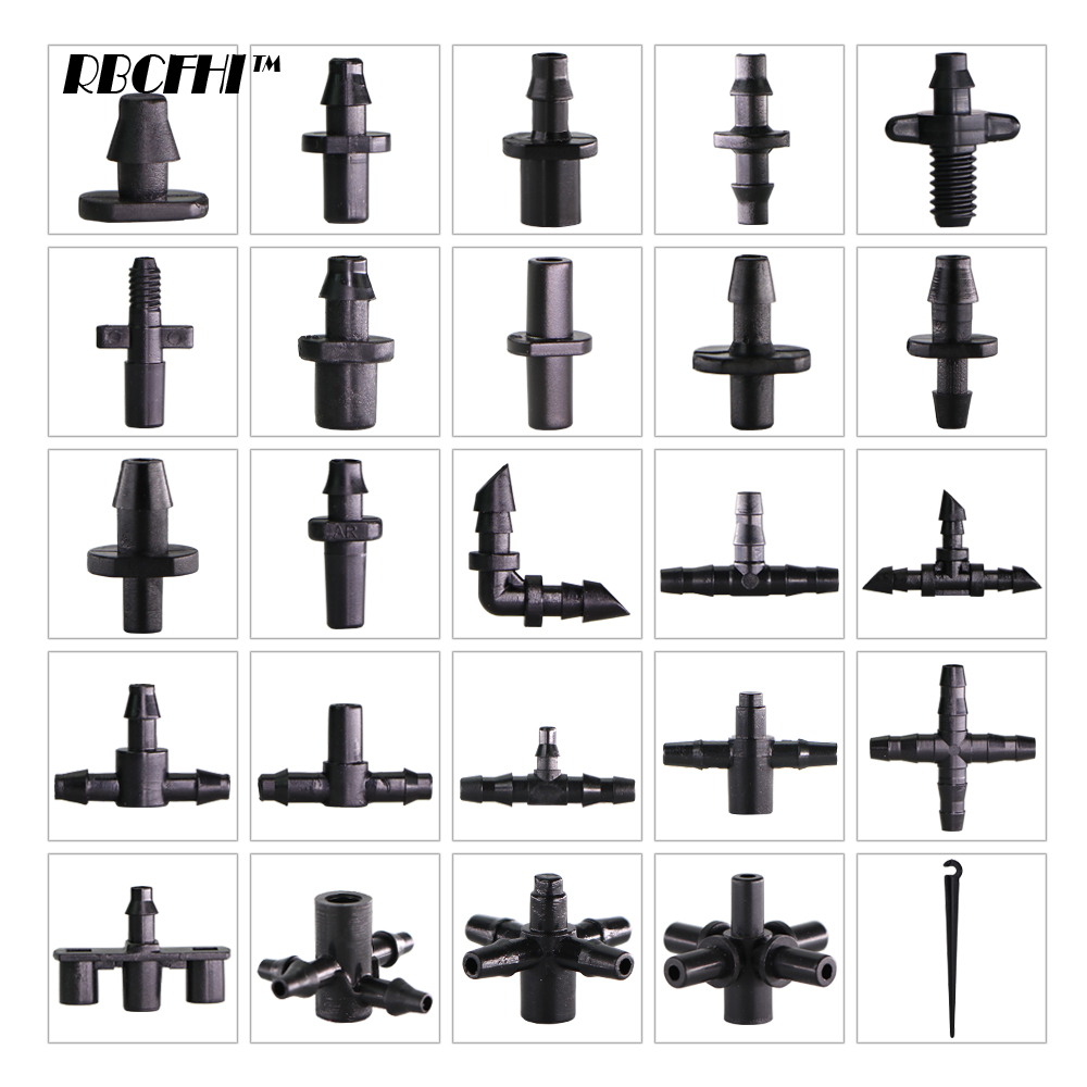 RBCFHI Garden Irrigation Connectors Barbed Single Double Tee Elbow Drip Arrow Cross Coupling Watering Fitting For 3/5 4/7mm Hose