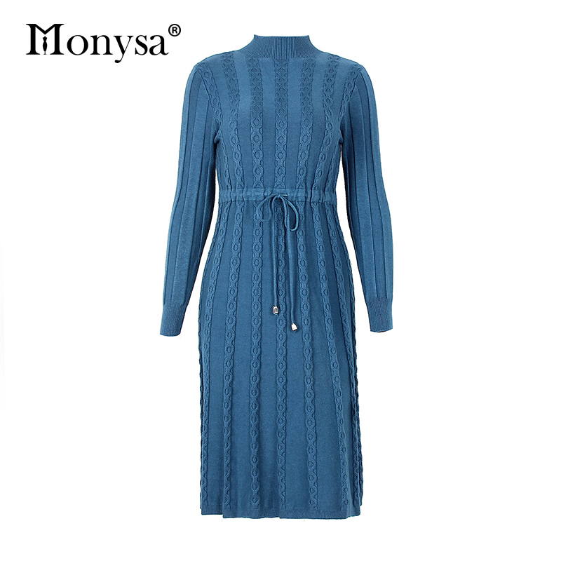 Autumn Winter Dresses 2019 New Arrival Fashion Casual Knee Length Knitted Dress Ladies Long Sleeve Sweater Dresses Black Blue 86