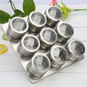 Image 1 - 9Pcs Set With Adjustable Metal Stand To Organize and Hold Spices Dried Herbs Kitchen Tools Stainless Steel Magnetic Spice Rack