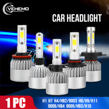 Vehemo H7 High Power COB H4/HB2/9003 LED Headlight LED Bulbs Car Super Bright Front Lamp Head light Fog Light Universal lighting(China)