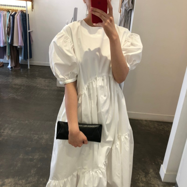 Getspring Women Dress Cotton Casual White Black Dresses Plus Size Asymmetry Puff Sleeve Long Loose Irregular Dresses Summer 2020 3