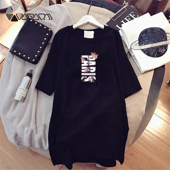 Women Dresses NEVER Series Letter Plus Size Black Mini Dress Loose Summer Long T Shirt Casual Clothes Femme Tops White Sukienka 135